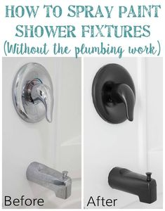 Want a new look for your shower fixtures? This easy DIY tutorial on how to spray paint shower fixtures is the perfect way to upgrade your shower hardware without worrying about annoying plumbing issues. It's way easier and MUCH less expensive too! Check out this step-by-step guide. #spraypaint #homeimprovement