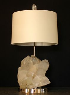 Table lamp Natural Rock Crystal formation. Rock crystal cluster, bronze base in polished nickel finish. empelcollections.com