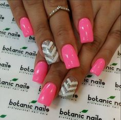 Pink with chevron accent nail - cute!