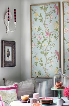 The Details: The wallpaper sets the tone for space where one pattern leads to another to create a relaxed family space. A statement Chinoiserie style wallpaper brings a fresh contemporary element to the space. Kristin chose Laura Ashley Summer Palace Wallpaper in Duck Egg. #domino
