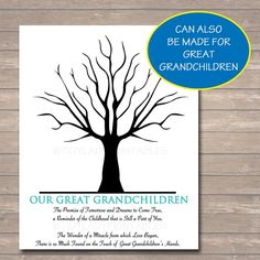 Grandparents Day Gift | Grandkids Thumbprint Art – TidyLady Printables Grandparents Day Poem, Grandparent Gifts, Thumbprint Tree, Handprint Art, Grandkids, Grandchildren, One Tree, Text Color, Trees To Plant