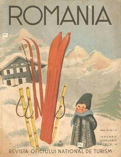 Vintage Travel Poster - Skiing - Romania.