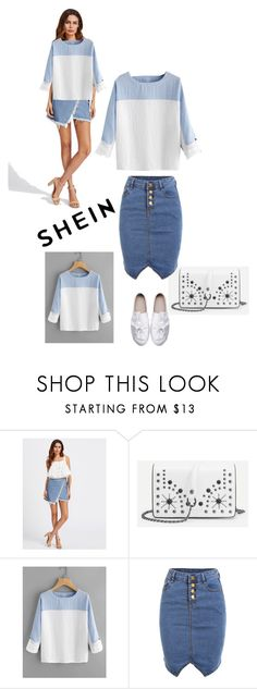 """The theme is: Two Tone Rolled Sleeve Blouse"" by amiraahmetovic ❤ liked on Polyvore"