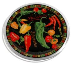 Peggy Karr Handcrafted Art Glass Spice It Up Plate, Round, 11-Inch by Peggy Karr Glass. $57.95. Handmade in the USA. Spice It Up pattern - zesty assortment of colorful chili peppers; also available in a wide range of other patterns. Colored enamel pigments hand-applied and fused between layers of recycled glass; each piece has a unique character of surface texture and bubbles. Hand-crafted art glass plate approximately 11-inch in diameter; decorative, functional, and collecti...