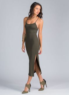 A Little Ribbing Crossback Dress OLIVE. Love this, you can dress it up, or down...very versatile
