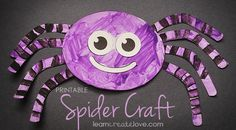 I'm not sure what it is about purple spiders, but them make me smile. :) Jodi from the Clutter-Free Classroom (Halloween Printables Toddlers) Theme Halloween, Halloween Crafts For Kids, Halloween Activities, Craft Activities, Holiday Crafts, Fall Toddler Crafts, Preschool Halloween, Halloween Witches, Toddler Halloween