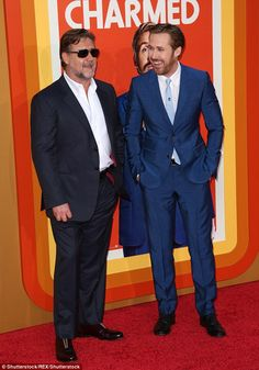 Stylish: Ryan Gosling and Russell Crowe were all smiles at the premiere of their new buddy movie The Nice Guys in Hollywood on Tuesday