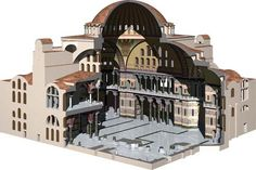 cutaway view of Hagia Sophia - The Church of the Holy Wisdom - Constantinople, Byzantine Empire - up until it was the largest cathedral in the world Byzantine Architecture, Roman Architecture, Church Architecture, Ancient Rome, Ancient History, Art History, Hagia Sophia, Axonometric View, Solomons Temple