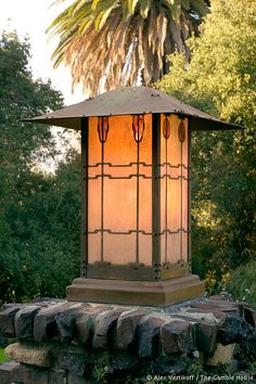 Back patio light fixture of the arts and crafts Gamble house, by Greene and Greens, 1908. Pasadena, CA
