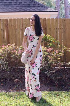Nathalia Dutra modest outfit maxi floral dress Modest Outfits, Modest Fashion, Sunday Outfits, Looks Plus Size, Comfy Clothes, Floral Maxi Dress, Cloths, Wrap Dress, Short Sleeve Dresses