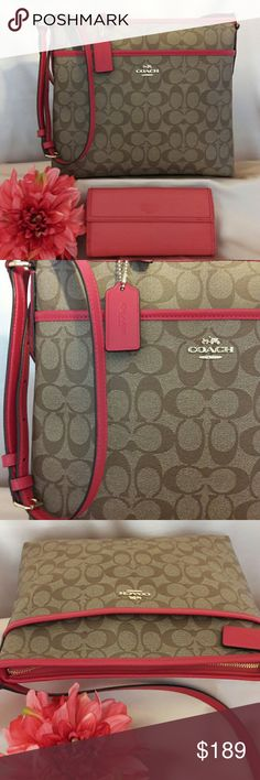 Beautiful Coach Signature File Crossbody Bag Gorgeous Coach Signature File Crossbody Bag Perfect Spring Color! Tan/Coral Pink Features All Silvertone hardware and genuine leather Crossbody Strap. Top zippered closure with leather pull tab. Outside Front slip pocket. Inside large zippered pocket and 2 cellphone multi-function slip pockets. COACH  Bags