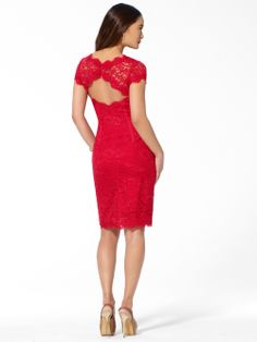 DRESSES | Fire Red Open Back Lace Dress | Caché