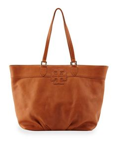 East-West Stacked Logo Tote Bag, Tan by Tory Burch at Neiman Marcus.