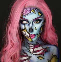 Hallowen Makeup 41 Most Jaw-Dropping Halloween Makeup Ideas That Are Still Pretty: Pretty Half S. , 41 Most Jaw-Dropping Halloween Makeup Ideas That Are Still Pretty: Pretty Half S. 41 Most Jaw-Dropping Halloween Makeup Ideas That Are Still Pretty:. Halloween Makeup Clown, Zombie Halloween Costumes, Pretty Halloween, Zombie Makeup, Diy Makeup, Makeup Ideas, Pop Art Makeup, Halloween Art, Face Makeup Art