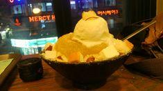 Sweet potato bingsu with slices of cheesecake. Seoul, South Korea