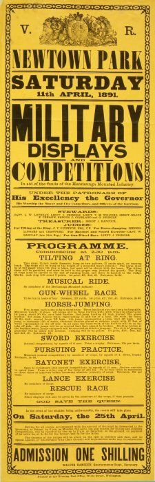 Newtown Park :Saturday 11th April 1891. Military displays and competitions in aid of the funds of the Heretaunga Mounted Infantry. ... Programme. [Signed] Walter Ramsden, Quartermaster-Sergt, Secretary. 1891.