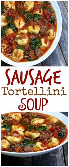 Video + Recipe: A quick, easy and delicious dinner! This Sausage Tortellini Soup is a family favorite and the perfect weeknight meal. Enjoy with a hunk of crusty bread from NoblePig.com. via @cmpollak1