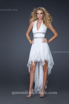 White Halter Neckline Home coming Dresses 2014 High And Low Sexy Discount Online @ queendressessale.com