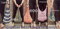 The upcycled boho bag: another use for old T-shirts Recycled T Shirts, Old T Shirts, Sewing Clothes, Diy Clothes, T Shirt Remake, Diy Bags Purses, Cycling Outfit, Cycling Clothes, Reusable Bags