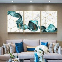 3 pieces Abstract blue silk Painting print On Canvas ready to hang framed painting print art Wall A piece canvas art 3 pieces wall art Abstract Green tree leaf Painting print On Canvas ready to hang framed painting print set of 3 Wall Art home Decor 3 Piece Canvas Art, 3 Piece Wall Art, Diy Canvas Art, Abstract Canvas, Canvas Wall Art, Blue Canvas, 3 Canvas Painting Ideas, Canvas Canvas, Canvas Frame