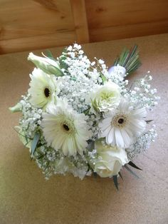 Image result for white gerbera and gypsophila bouquet