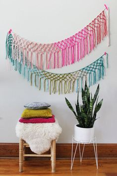 Make this macrame yarn garland for a splash of color.