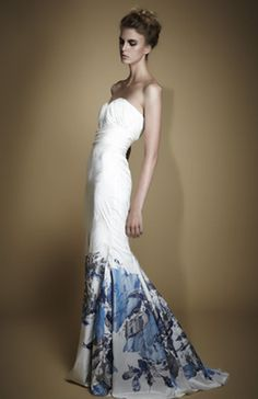 Memeka by Gustavo Cadile Spring 2013 - White Strapless Floral Gown.