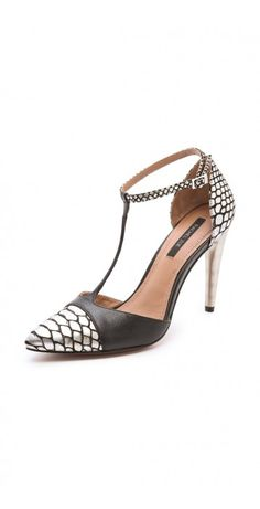 FRANCO T STRAP PUMPS $61.21 A whisper thin T-strap adds a ladylike feel to a pair of Rachel Zoe pumps, styled in metallic, snake-print leather. A polished, sculpted heel adds substantial lift. Buckle ankle strap. Leather sole.