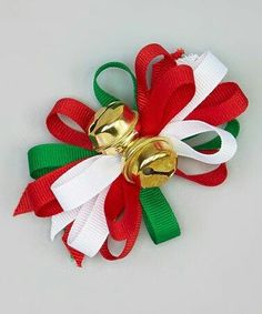 Look what I found on Charla's Place Red & Green Jingle Bell Clip by Charla's Place Making Hair Bows, Diy Hair Bows, Diy Bow, Ribbon Crafts, Ribbon Bows, Ribbons, Vive Le Vent, Christmas Hair Bows, Diy Christmas