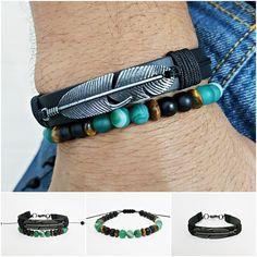 Kit 2 Pulseiras Masculinas Couro Pena Pedra Agata Verde mens bracelets fashion style cocar brasil