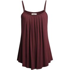 Bepei Women Loose Casual Summer Pleated Flowy Sleeveless Camisole Tank... ($40) ❤ liked on Polyvore featuring tops, red cami, summer tanks, loose tank, cami tank and sleeveless tops
