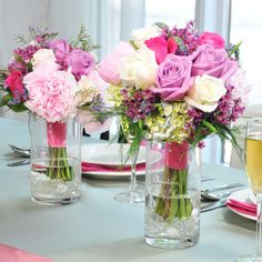 Use each of the Bridesmaids bouquets as Wedding Party Table DECOR. All you need is vases and water