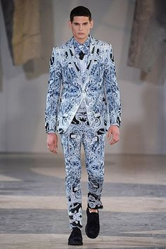 Blue Baroque print suit