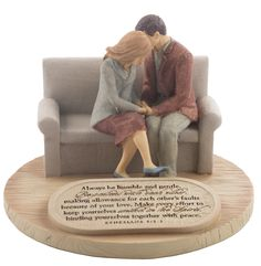 A quiet grace washes over the Devoted Praying Couple figurine. Peaceful and serene, it features a couple holding hands in reflection. Engraved on a badge at the base of the figure is Ephesians 4:2-3 -