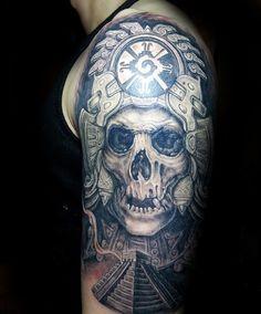 Skull With Mayan Pyramid Male Half Sleeve Tattoo