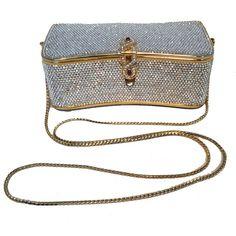 Judith Leiber Vintage Box Clear Swarovski Crystal Minaudiere Evening... (€2.470) ❤ liked on Polyvore featuring bags, handbags, clutches, vintage evening bags, white leather handbags, clear clutches, leather handbags and white evening bag