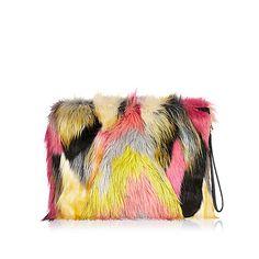 Pink Faux Fur Clutch Bag Bags Purses Women