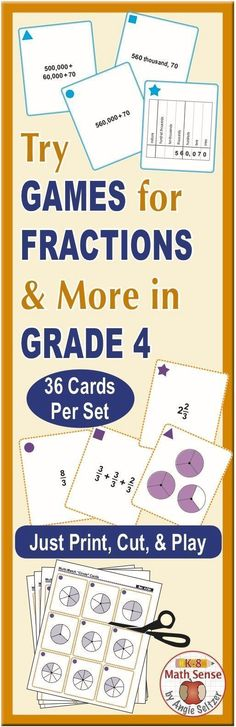 This bundle includes a dozen printable sets of 36 cards for Grade 4 math. Topics include simple equations, place value, equivalent fractions, mixed numbers, angles, converting length, and more. Just print on plain paper, cut, and play one of four fun games. ~by Angie Seltzer