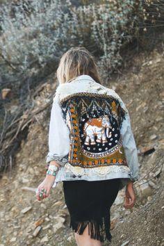 Wild & Free - Embellished Elephant Jacket in Black