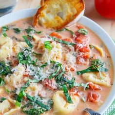 Creamy Parmesan Tomato and Spinach Tortellini Soup Recipe