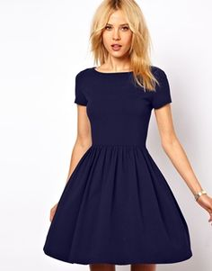Image 1 of ASOS Skater Dress With Slash Neck And Short Sleeves