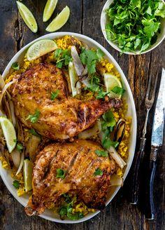 Tandoori-Style Roasted Chicken. Beautiful shot of Indian inspired chicken