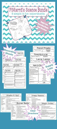 This bundle of EIGHT experiments is all organized and ready to use!    Each experiment has:  CLEAR DIRECTIONS for student use  RECORDING SHEETS for student use  SUPPLY LIST and TEACHER NOTES for teacher use   All you need to do is print this bundle, provide supplies and organize groups!