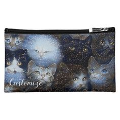 Shop Sparkle Cats Cosmetics Bag created by BlueRose_Design. Small Cosmetic Bags, Pet Gifts, Black Nylons, Satin Fabric, Travel Accessories, Sparkle, Cosmetics, Purses, Pets