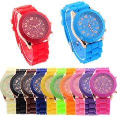 New Women's Men's Geneva Silicone Jelly Gel Quartz Analog Sports Wrist Watch #Unbranded #Fashion