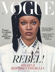 Rihanna is constantly making history & she just did again as she became the first 'British Vogue' cover star to wear a durag! Rihanna, graced the Vogue Uk, Vogue Paris, Vogue India, Vogue Russia, Teen Vogue, Rihanna Vogue, Rihanna Fenty, Rihanna Fashion, Images Murales