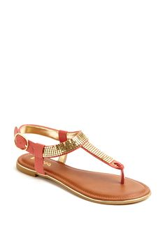 Coral and gold sandals