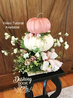New savings on pink & ivory shabby chic fall floral pumpkin centerpiece Shabby Chic Centerpieces, White Pumpkin Centerpieces, Pumpkin Floral Arrangements, Baby Shower Centerpieces, Floral Centerpieces, Flower Arrangements, White Pumpkin Decor, Diy Thanksgiving Centerpieces, Diy Pumpkin