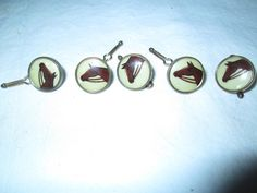 INTAGLIO Reverse PAINTED Horse BUTTONS Set of 5 Mint!! by BagsButtonsBaubles on Etsy