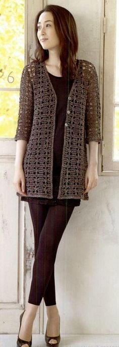 New Ideas For Crochet Cardigan Vest Shrug Pattern Crochet Lace Scarf, Black Crochet Dress, Crochet Cardigan Pattern, Crochet Jacket, Crochet Poncho, Crochet Patterns, Knitting Patterns, Free Crochet, Crochet Vests